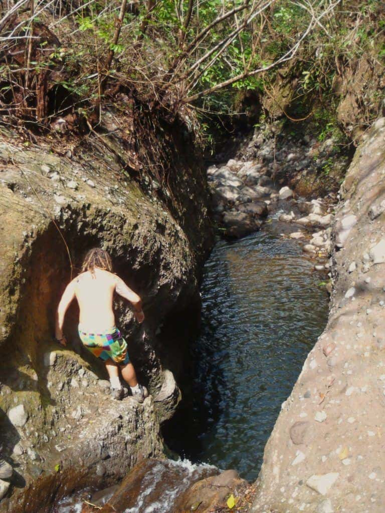 The first obstacle we came across. Canyoning In El Salvador