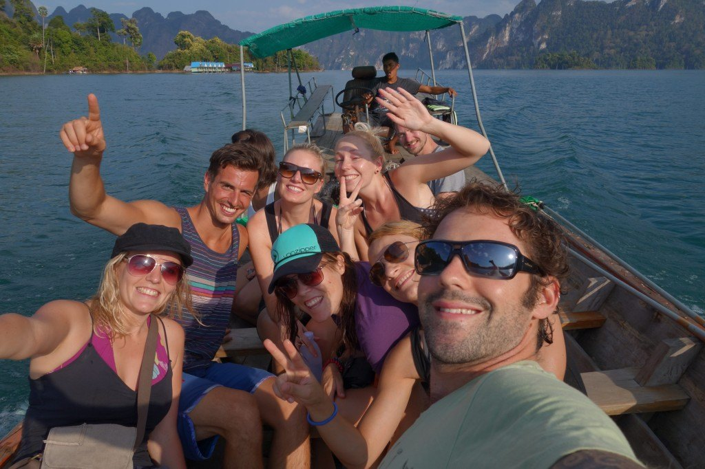 Our new friends enjoying the longtail ride. Khao Sok