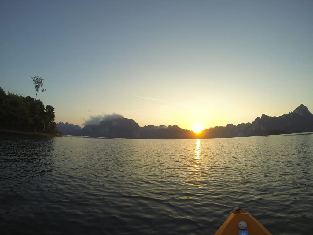 The sunrise from our kayak. Khao Sok