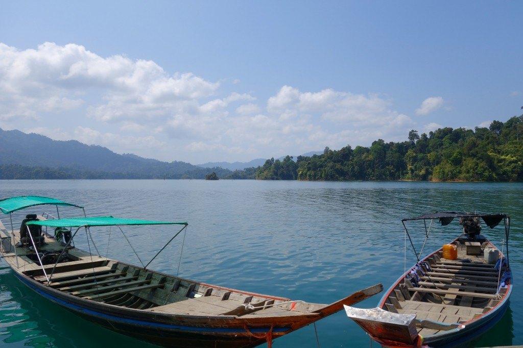 Longtails parked on the lake. Khao Sok
