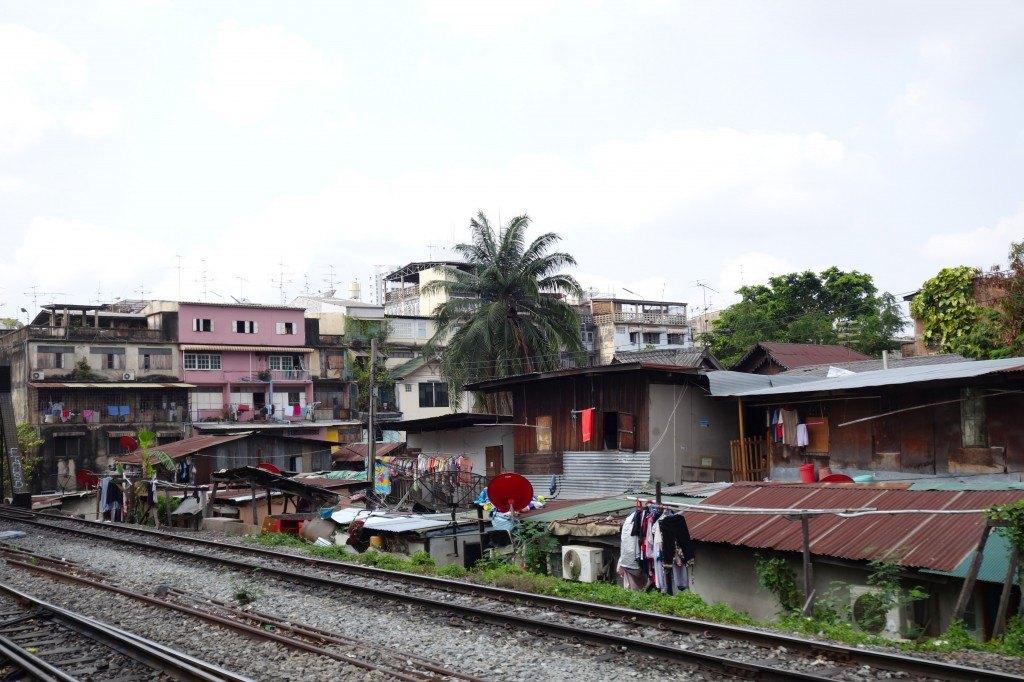 The Scenery Changes From Lush Greenery To Urban Jungle. Chumphon To Bangkok Train