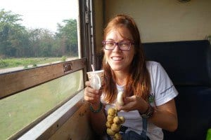 Lesh With Her Coffee And Fruit For Breakfast. Chumphon To Bangkok Train