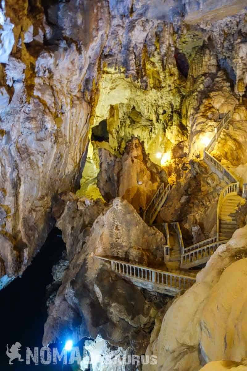 Staircases inside the cave. Thakhek Loop Motorbike Scooter Laos