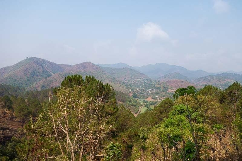 The view of Kalaw just outside of town. Budget for Myanmar