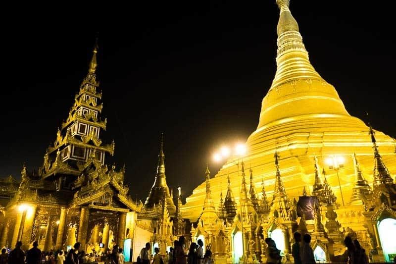 Shwedagon Pagoda in Yangon. Budget for Myanmar