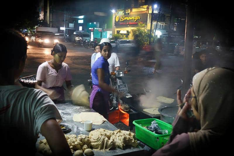 Cheap food on the streets of Mandalay. Budget for Myanmar