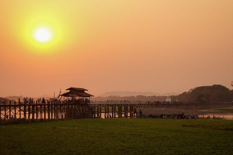 U-Bein Bridge In Mandalay. Budget For Myanmar