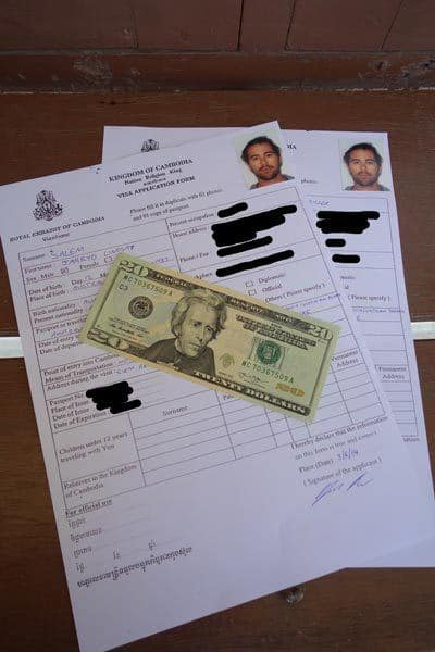 Aapplication Form And Fees Getting Cambodian Visa In Vietntiane