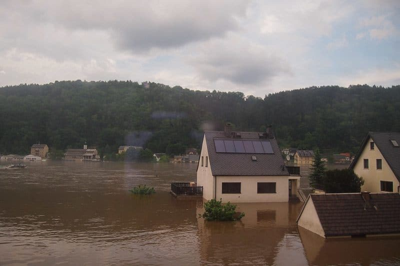 A flood-devastated village en route to Dresden. Train travel in Europe.