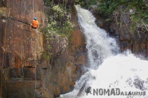 The first rappel. Canyoning in Dalat.