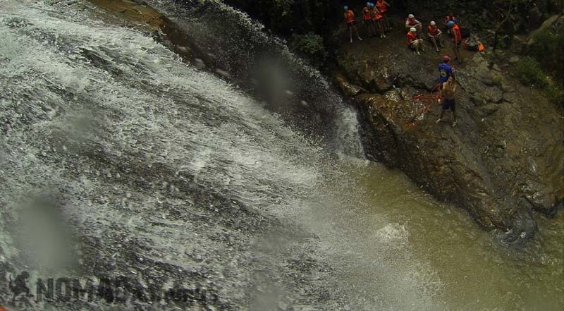 Staring down from where I have to jump from. Canyoning in Dalat.