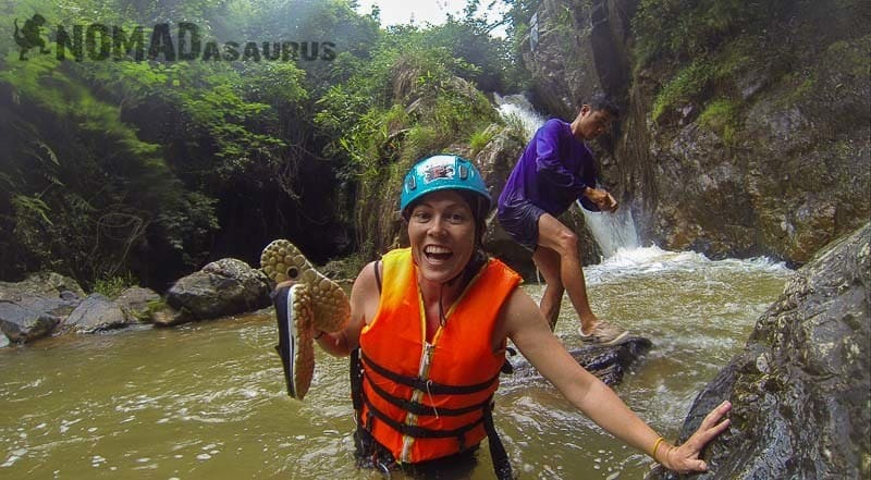 Lesh is ecstatic with the canyoning in Dalat!