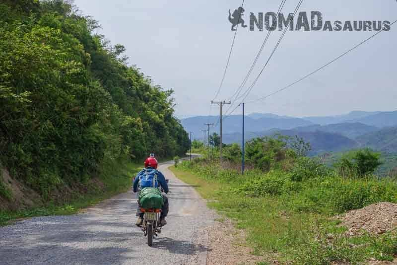 Typical road in Northern Laos. Laos Motorcycle Adventure