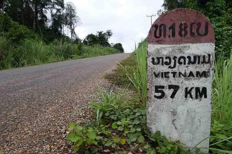 Road Sign Crossing The Border With A Motorbike Laos Cambodia Vietnam Thailand Southeast Asia Experience