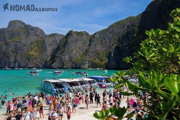 Backpackers Paradox Traveller Vs Tourist Maya Bay Thailand Crowd