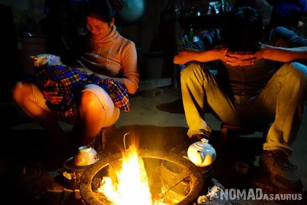 Open Fire Ba Be National Park Lake Mr Linhs Homestay Trekking