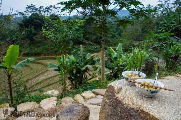Breakfast Ba Be National Park Lake Mr Linh's Homestay Trekking