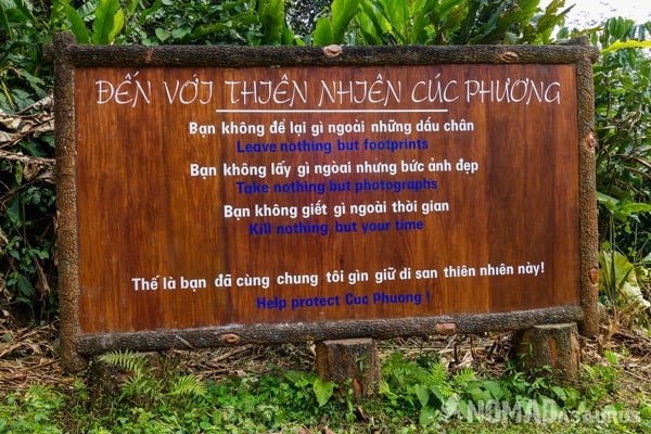 Sign Cuc Phuong National Park Waste Litter Trash