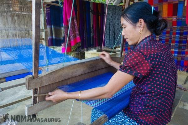 Loom Lady Weaving Mai Chau Vietnam