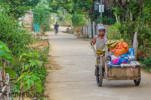 Old Man Cart Mai Chau Vietnam