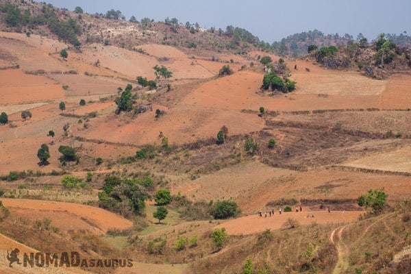 Barren Landscapes Long Fields Trekking From Kalaw To Inle Lake Myanmar Burma