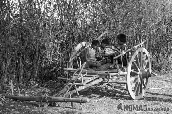 Young Boys Wooden Cart Trekking From Kalaw To Inle Lake Myanmar Burma