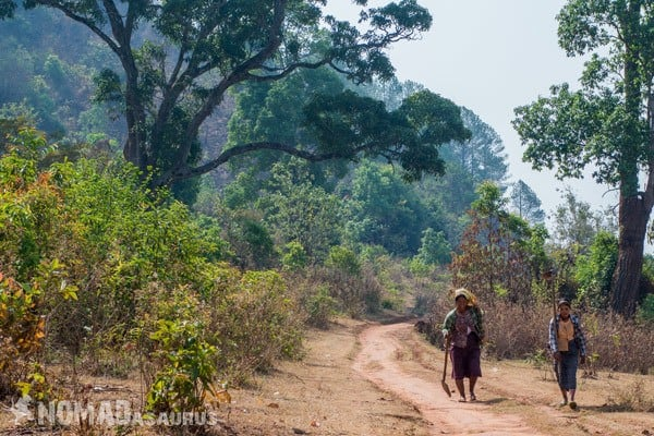 Lady Walking Trekking From Kalaw To Inle Lake Myanmar Burma