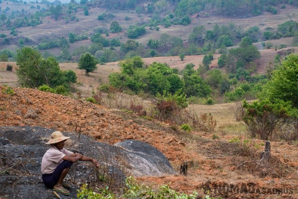 Man Sitting Trekking From Kalaw To Inle Lake Myanmar Burma