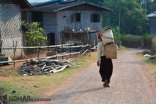 Lady Walking Carrying Trekking From Kalaw To Inle Lake Myanmar Burma
