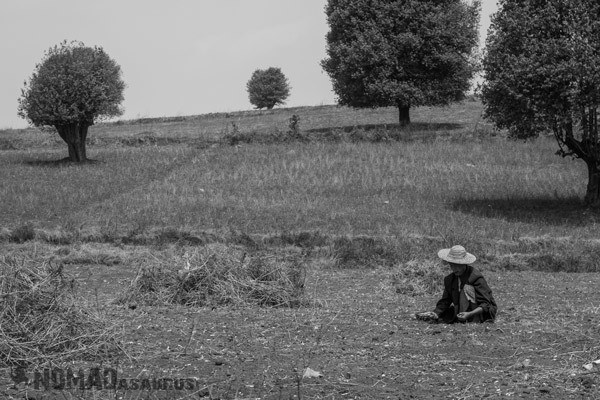 Man Black And White Trekking From Kalaw To Inle Lake Myanmar Burma