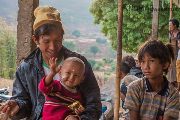 Waving Child Trekking From Kalaw To Inle Lake Myanmar Burma