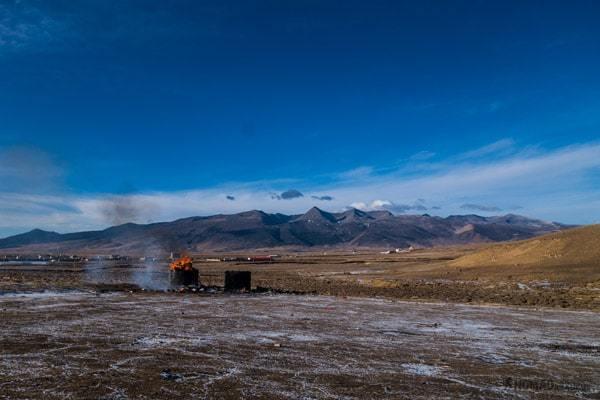 Tibetan Sky Burial Fire China