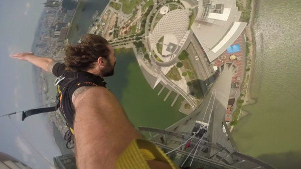 Jazza Falling World's Highest Bungy Jump Macau Tower AJ Hackett