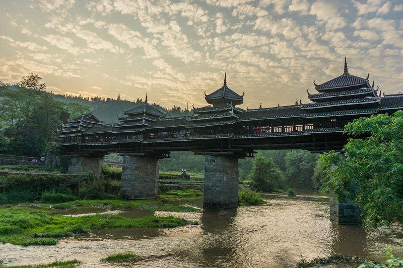 Chengyang Ancient Village Guangxi China Wind And Rain Bridge