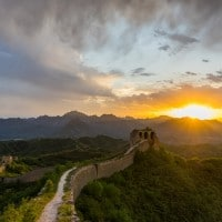 Sunset Gubeikou Camping On The Great Wall Of China