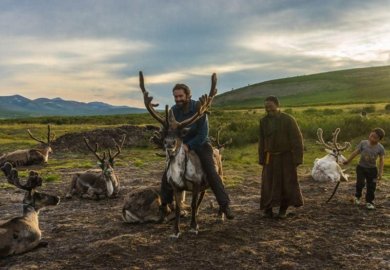 Riding Tsaatan People Dukha Reindeer Herders Mongolia