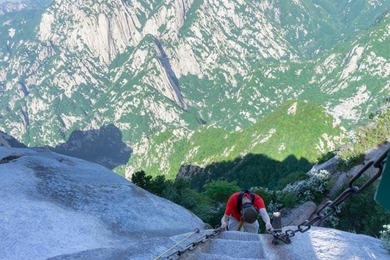 Climbing Down Mount Huashan