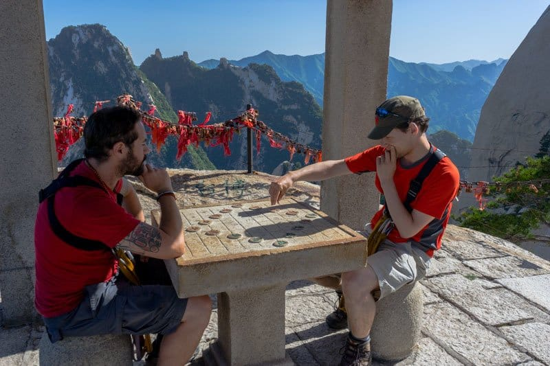 Chess Pavilion Mount Huashan World's Most Dangerous Hike Plank Walk