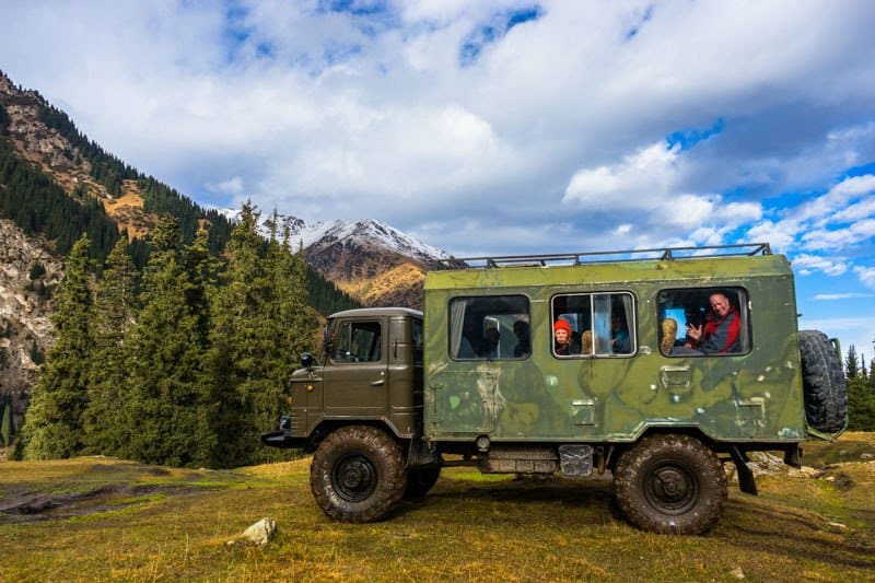 Russian Truck Hiking Altyn Arashan Valley Hot Springs Kyrgyzstan
