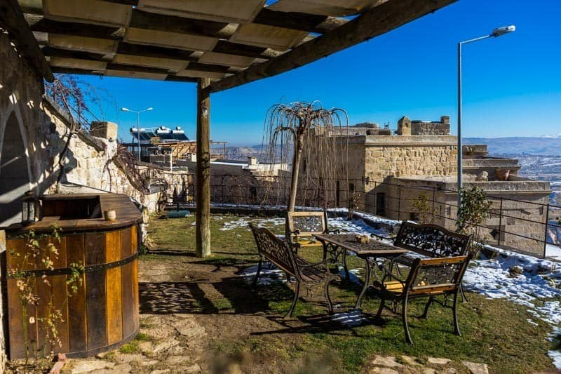 Outdoor Patio View Kale Konak Cave Hotel Uchisar Goreme Best Boutique Hotel Cappadocia