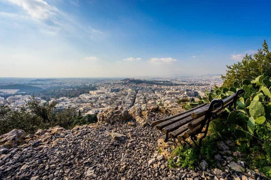 Bench Mount Lycabettus Street Scenes Of Athens