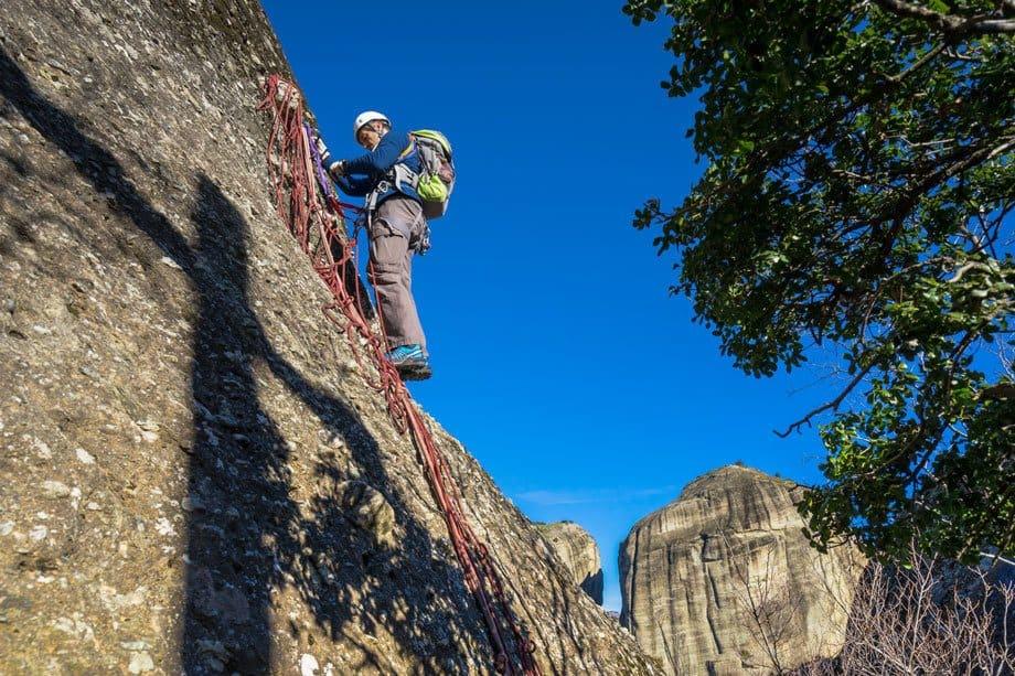 Kostas Abseil Great Saint Climb Via Ferrata Meteora Greece