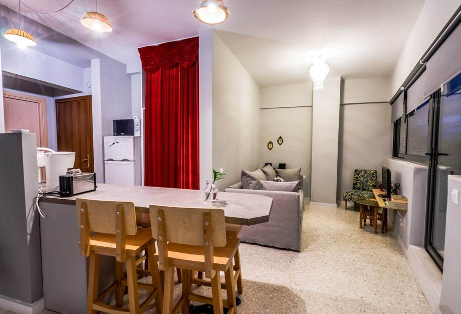 Kitchen Living Room Best Accommodation In Athens Live In Athens Short Stay Apartments
