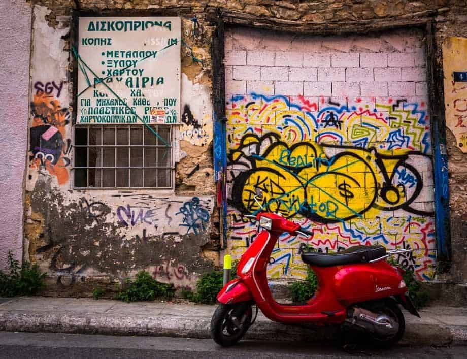 Red Vespa Street Scenes Of Athens