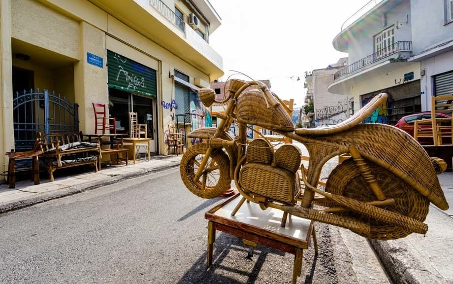 Wicker Motorcycle Street Scenes Of Athens