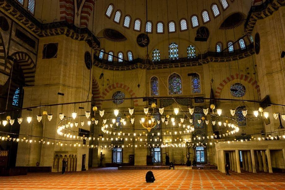Süleymaniye Mosque Man Praying Istanbul