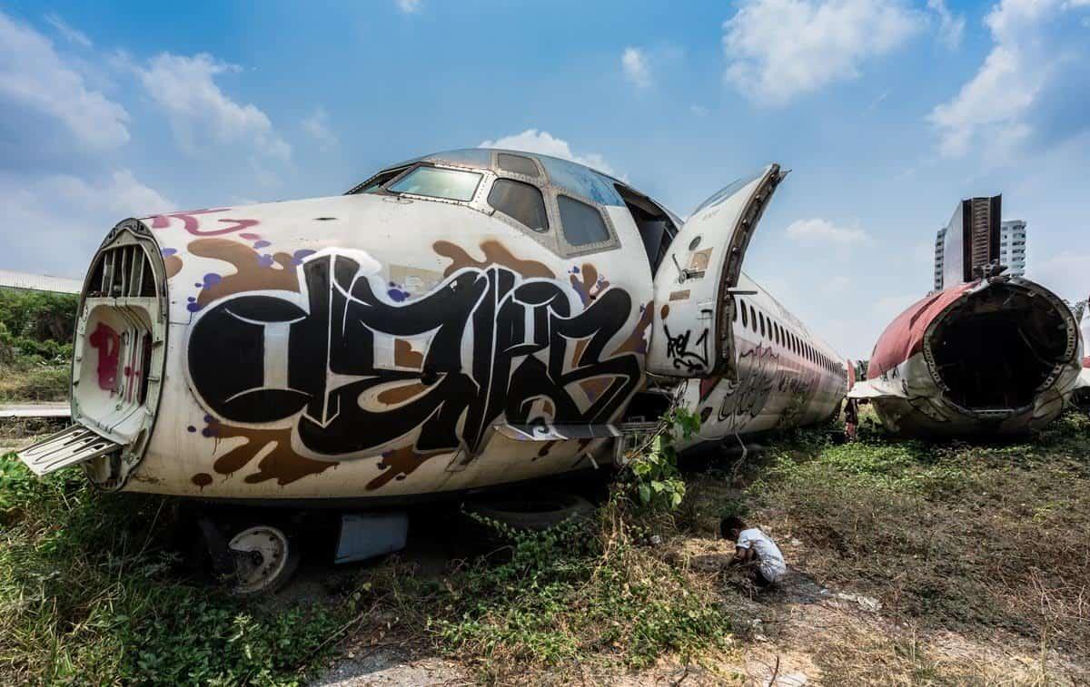 Young Boy Bangkok's Airplane Graveyard