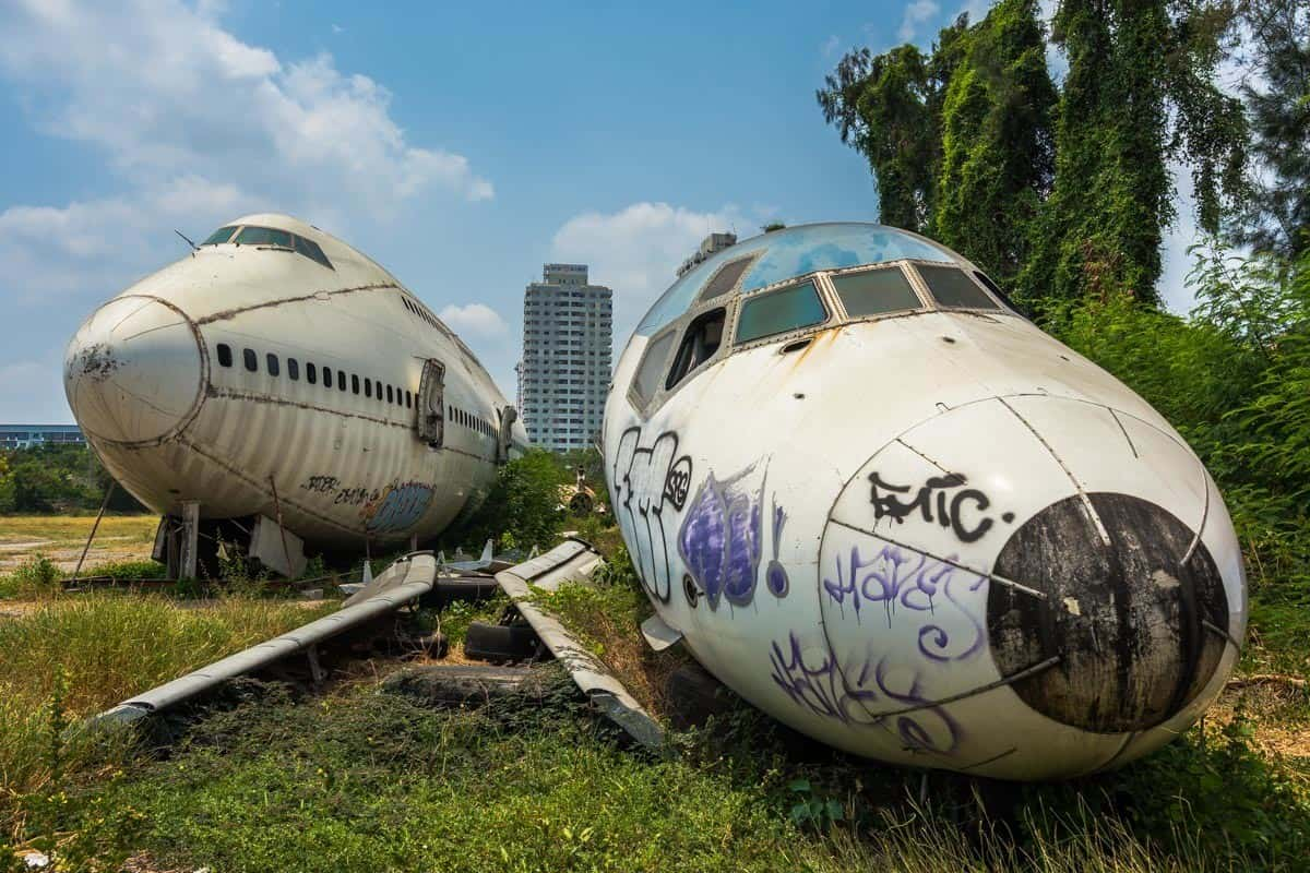 Front On Bangkok's Airplane Graveyard