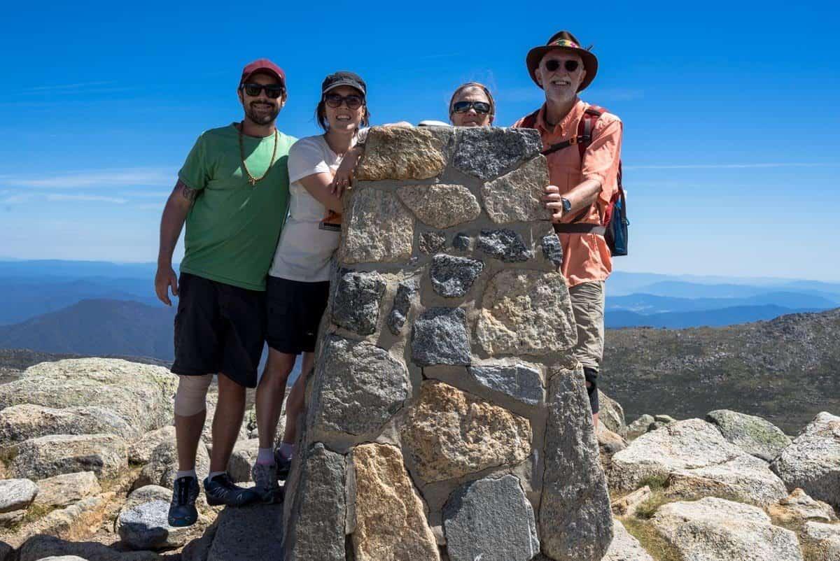 Group On The Summit Climbing Mount Kosciuszko