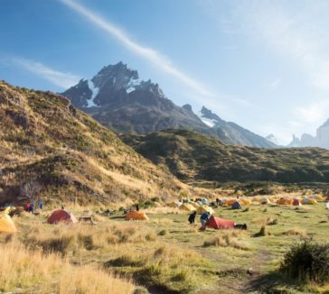 Camping in the Torres del Paine National Park.